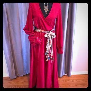 Red faux wrap boho maxi dress long sleeve